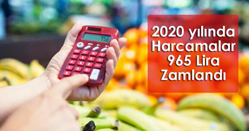 2020 YILINDA HARCAMALAR 965 LİRA ZAMLANDI