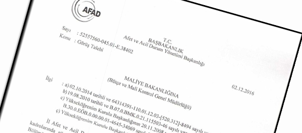 AFAD'dan Maliyeye Üst Öğrenim Başvurusu