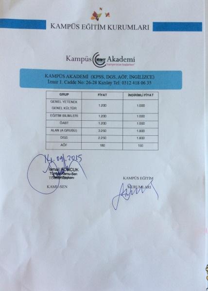 Kampüs Eğitim kurumları ile yapılan anlaşma sonrasında Türkiye Kamu-Sen üyeleri indirim fırsatından yararlanacaklar